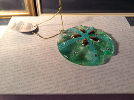 Glass Sand Dollar Blue Green Ornament by Holiday Tree Decoration