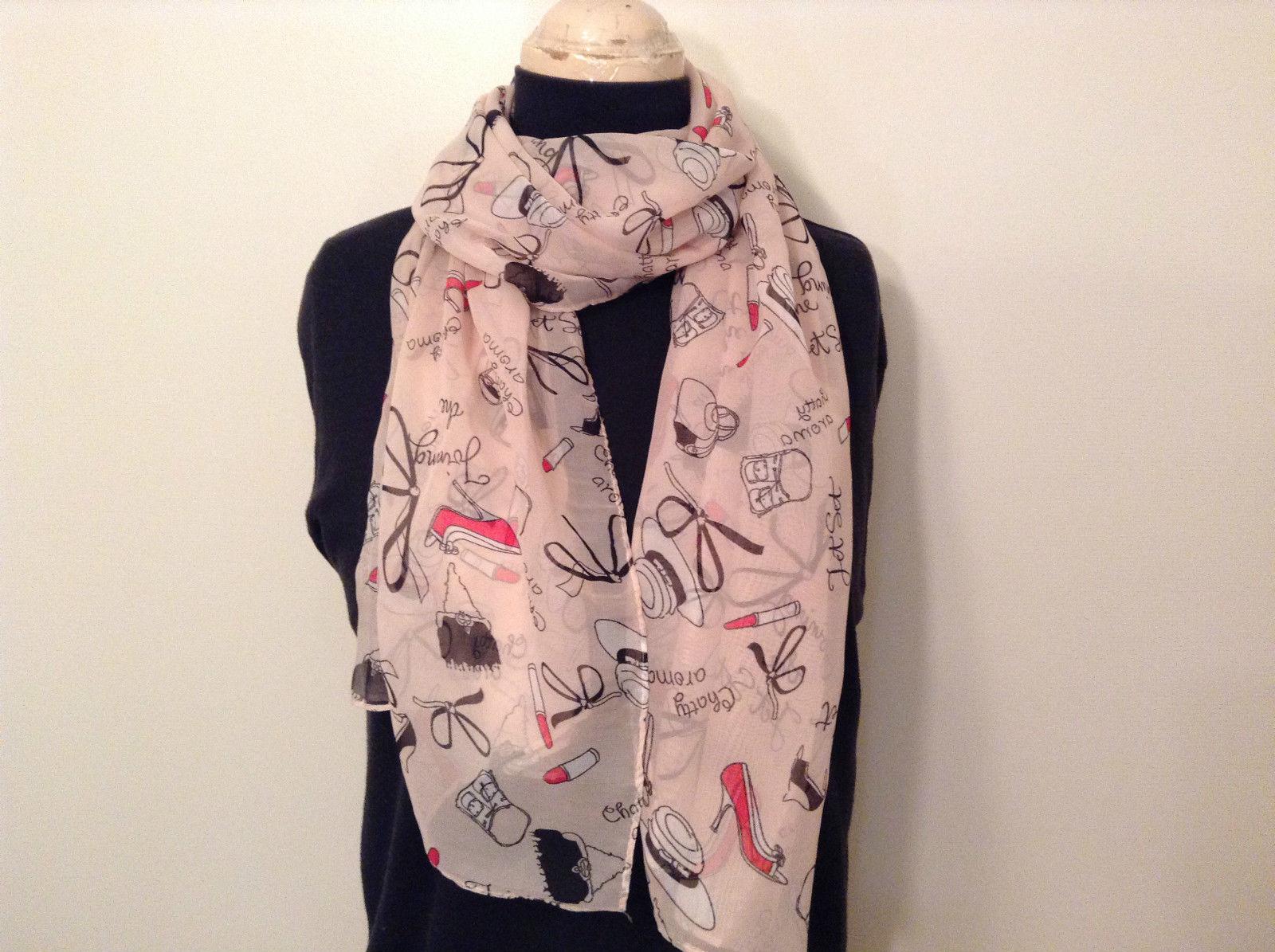 Girls Necessities Pattern Light Dark Pink Black  Scarf 100 Percent Polyester NEW