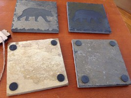 "Hand Made USA tile coasters 4"" square engraved slate gift set  bear image 3"