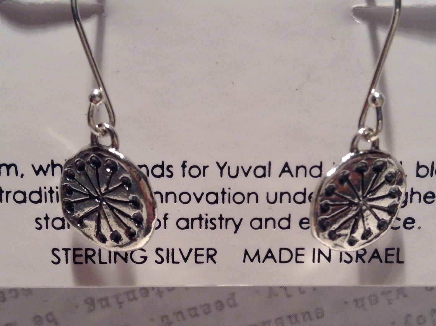 Handmade Sterling Silver Pendant Flat Earrings