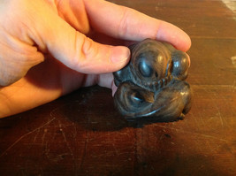 Hand Carved Vintage Wooden Monk w Face in Hands Figurine Hard Dark Wood image 6