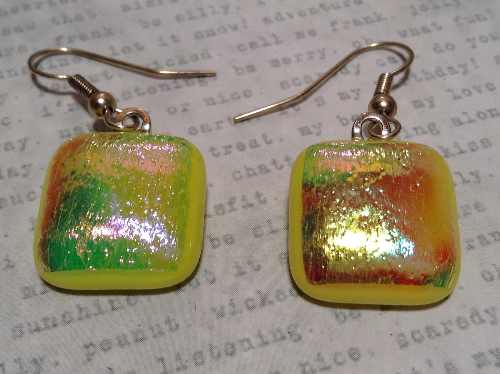 Glass Shiny Metallic Square Earrings Yellow with Multicolored Enamel Mixed Metal