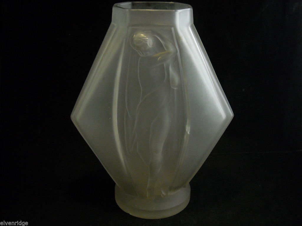 Glass Vase by Sevin Etling France with Sculpted Woman art nouveau ca 1920s