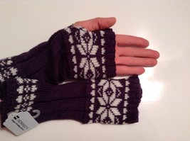 Fun Snowflake snow knit fingerless mittens 6 color choices holiday gift image 2
