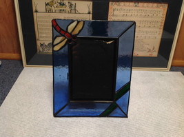 Glass and Metal Picture Frame Blue with Dragonfly