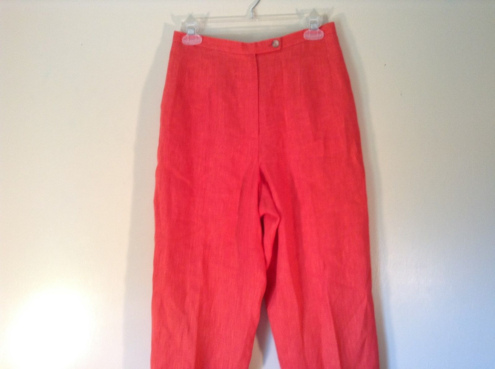 Harve Benard Red 100 Percent Linen Dress Pants Stretchy Waist Size 8P
