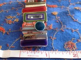 Funky colorful modern enamel resin silver tone tablet bracelet  NEW  oranges image 9