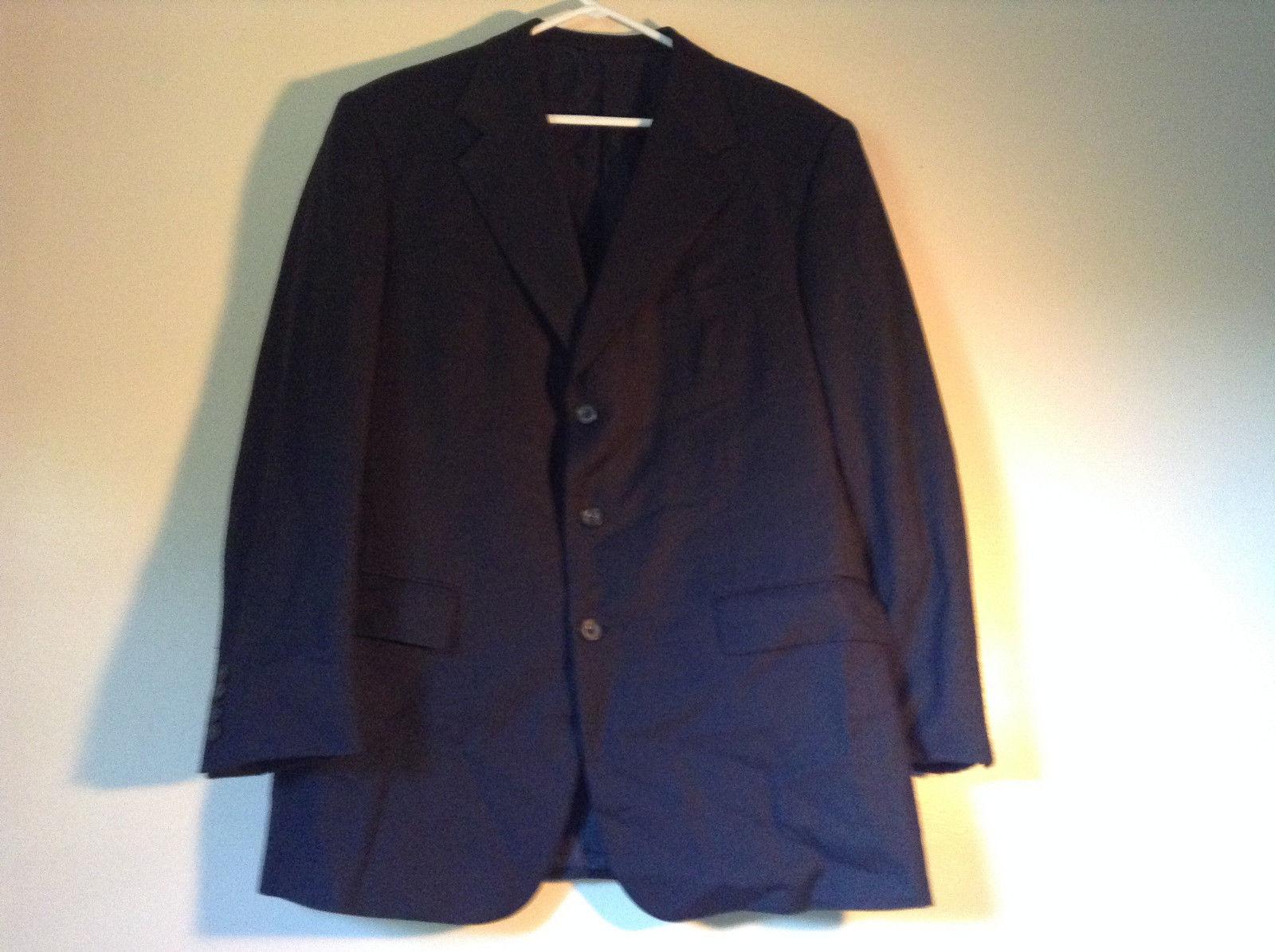 Hilton Very Dark Blue Black Suit Jacket Size 42 Regular 100 Percent Worsted Wool