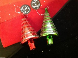 Glass ornament Christmas tree choice of red or green sparkles department 56 image 1