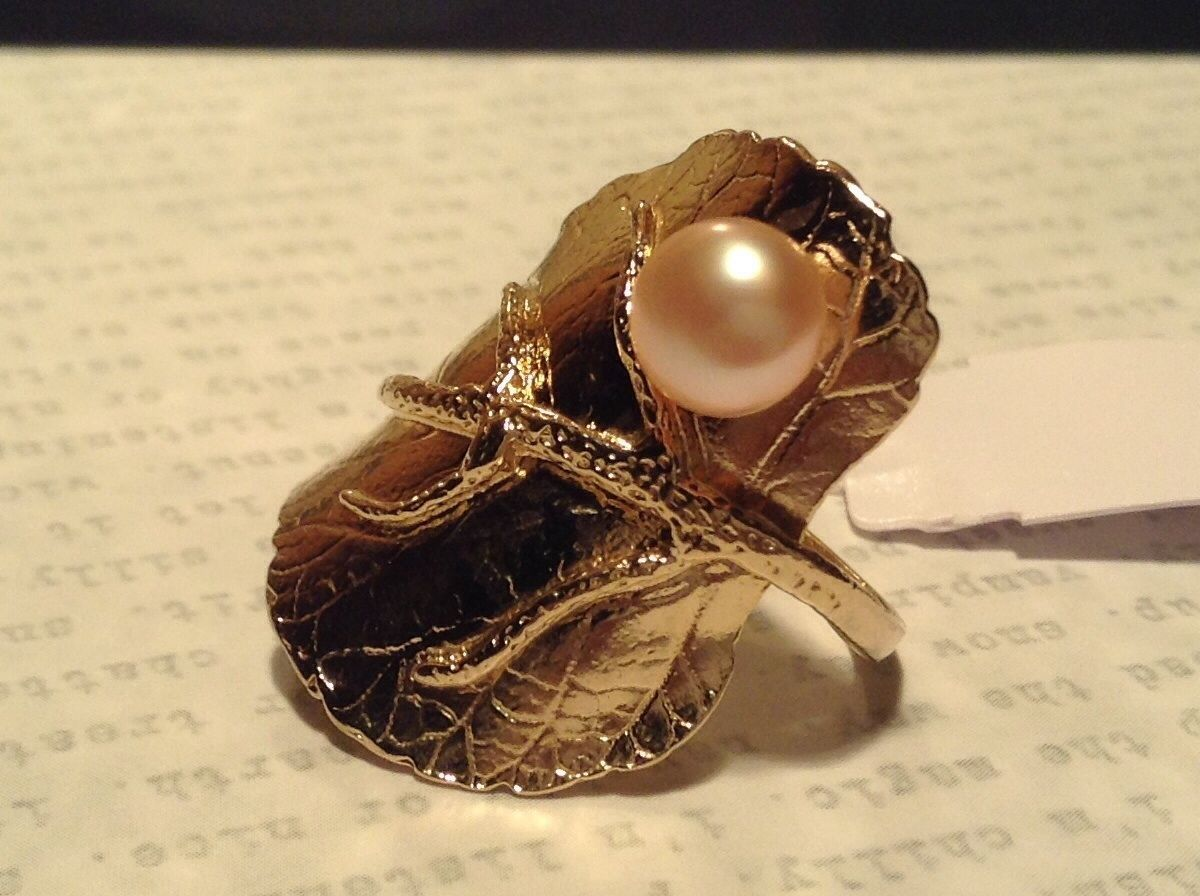 Gold Plated 14K Size 7 Ring Leaf Pearl Sterling Silver Base Freshwater Pearl