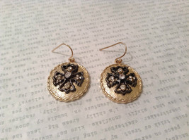 Gold Plated Round Cross CZs Dangling Earrings image 1
