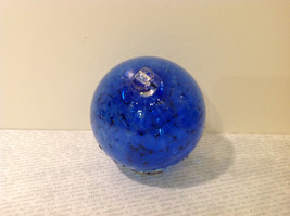 Handblown Recycled Glass Christmas Tree Ball Ornament Deep Blue White image 4