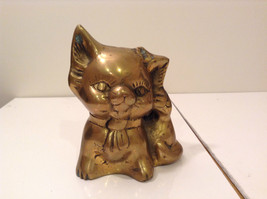 Gold Tone Cat Figurine Display Piece Six Inches Tall Five Inches Wide