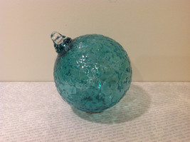 Handblown Recycled Glass Christmas Tree Ball Ornament Light Blue Green image 2