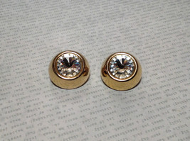 Gold Tone Clip On Earrings with Large Crystals