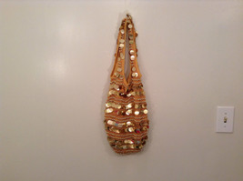 Gold Sequins Bag Purse with Gold Beads Lined Inside Zipper Pocket