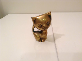 Gold Tone Cat Paperweight or Display Piece 3 Inches Tall