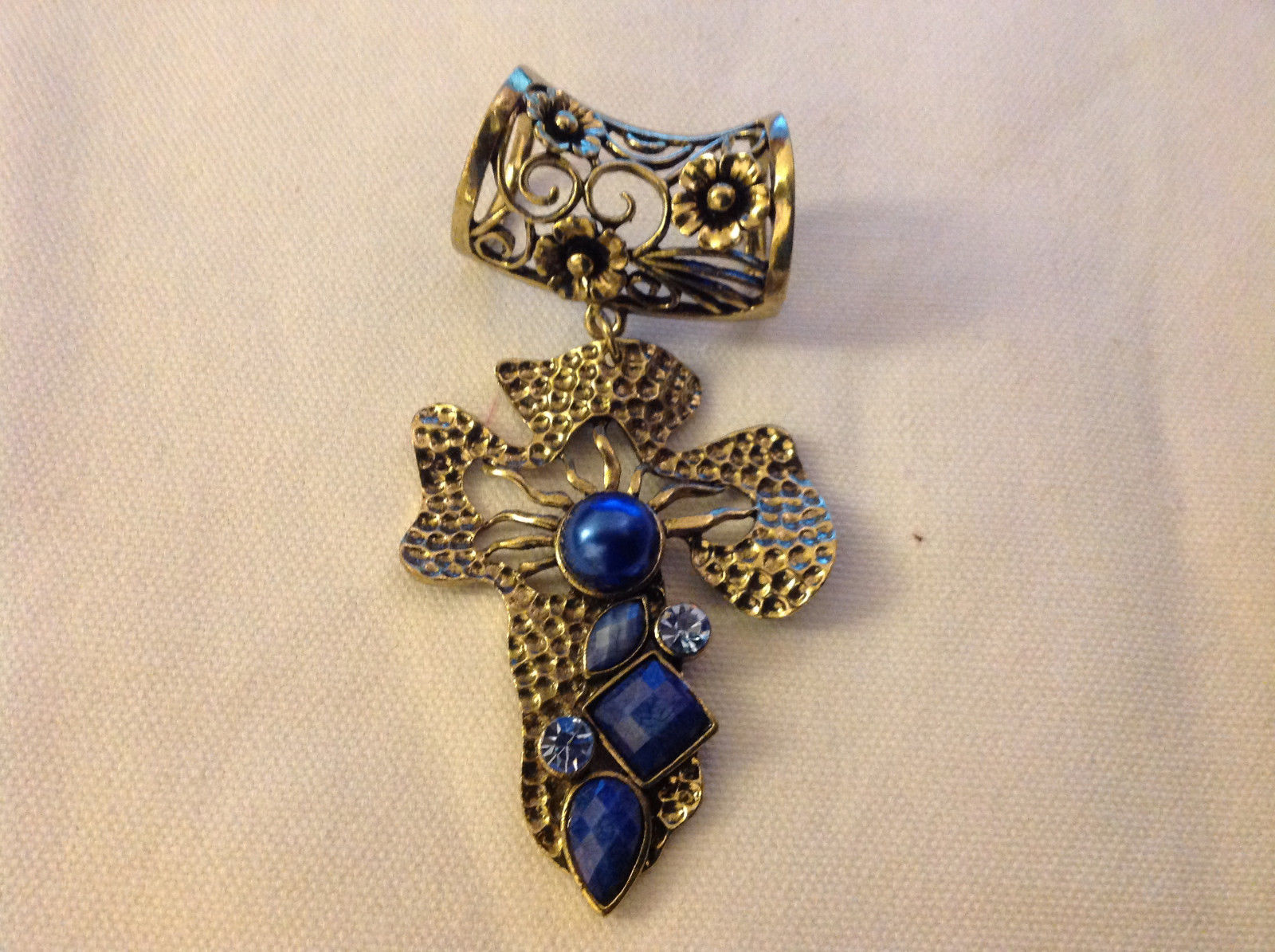 Gold Tone Cross Shape with Light and Dark Blue Crystals Scarf Pendant 4 Inches