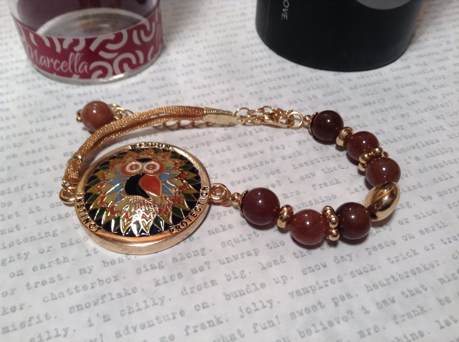 Gold Tone Mandala Owl Brown Beads Wisdom Instinct Protection Marcella Bracelet