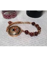 Gold Tone Mandala Owl Brown Beads Wisdom Instinct Protection Marcella Br... - $34.64
