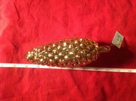 Gold Tone Pine Cone Christmas Ornaments New with Tag by Melrose - $12.86
