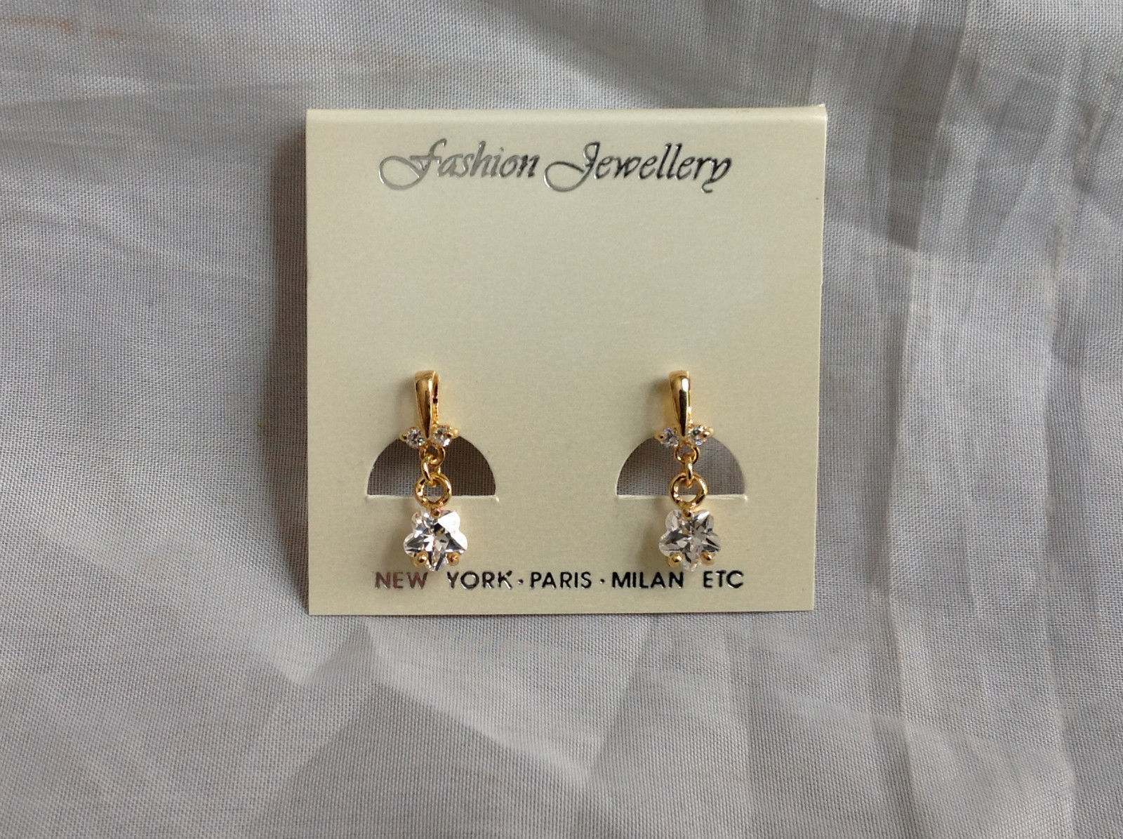 Gold Tone Drop Star Shaped Crystal Stud Earrings Stones Above Drop Part as well