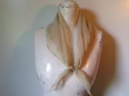 Gold Square Scarf with  Golden Lines 27 Inches by 24 Inches Vintage Look - $39.99