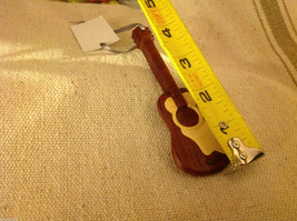 Hand carved multi colored grained wood guitar ornament double sided image 2