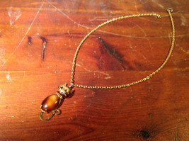 Gold Tone Necklace with Cat Pendant Brown White Stone Set on Copper Alloy