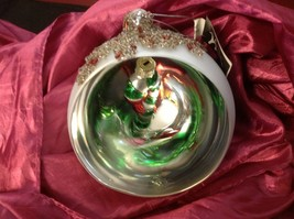 Holiday glass ornament Christmas Window ball w candy cane inside