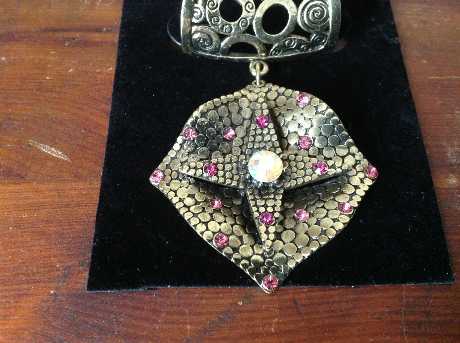 Gold Tone Scarf Pendant with Large Multicolored Crystal and Small Pink Crystals