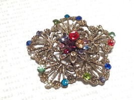 Gold Tone Swarovski Inlaid Multicolor Flower Brooch Pin Red Green Yellow Crystal