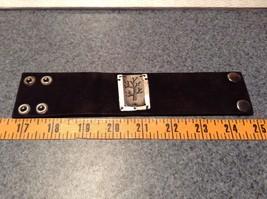Genuine Black Leather Handcrafted Bracelet Pewter Base Metal Medallion Tree image 6