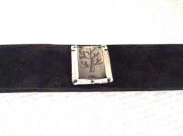 Genuine Black Leather Handcrafted Bracelet Pewter Base Metal Medallion Tree image 2