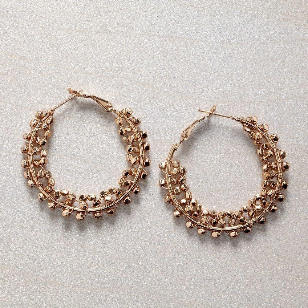 Gold bead hoop earring 1 1/2 inch
