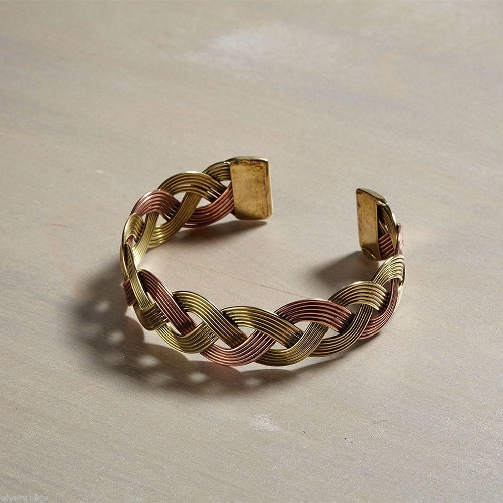 Gold and Rose Gold  Braided Metal Bangle Bracelet