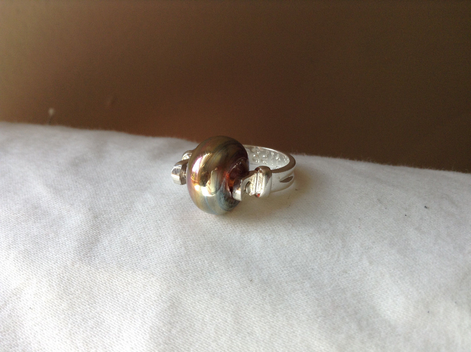 Gold Metallic Bead Silver Ring Size 4.75 by Beadit