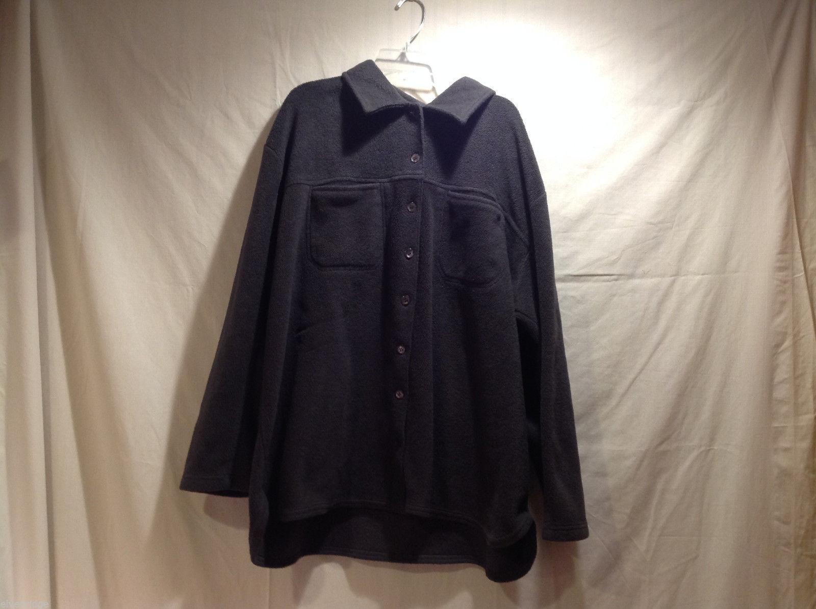 Golden Touch Woman Dark Gray 100% Polyester Button Up Fleece Jacket Top, Size 2X