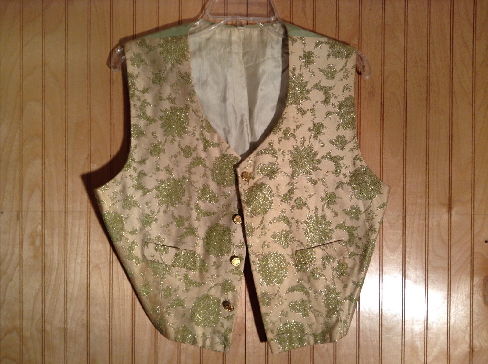 Gold and Green Floral Pattern 5 Gold Toned Button Closure Vest NO TAGS