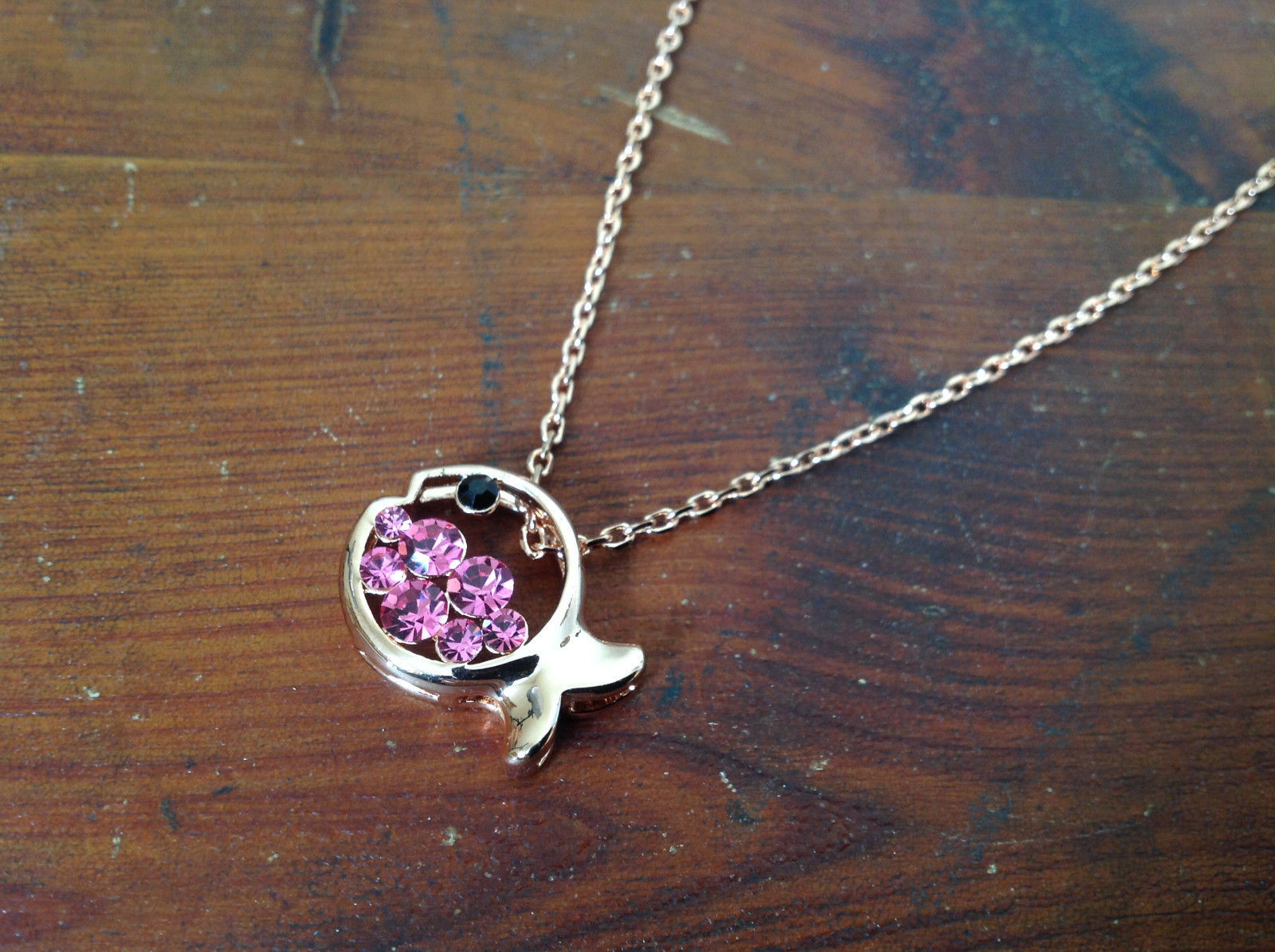 Gorgeous Fish Shaped 10K Gold Plated Necklace with Pink Crystals Adjustable