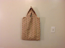 Handmade Cotton-Linen Deep Tote Bag Handbag Beige with Flower pattern, lined image 2