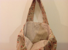 Handmade Cotton-Linen Deep Tote Bag Handbag Beige with Flower pattern, lined image 5