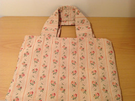 Handmade Cotton-Linen Deep Tote Bag Handbag Beige with Flower pattern, lined image 6