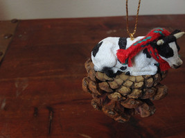 Handmade Pine Cone Pet Cow with Scarf Ornament Real Pine Cone image 2