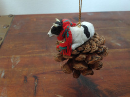 Handmade Pine Cone Pet Cow with Scarf Ornament Real Pine Cone image 3