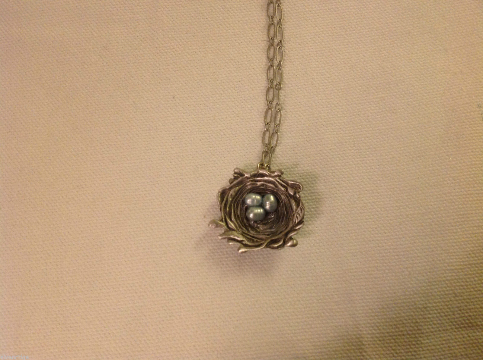 Gorgeous hand made pewter necklace USA artist birds nest with blue pearl eggs