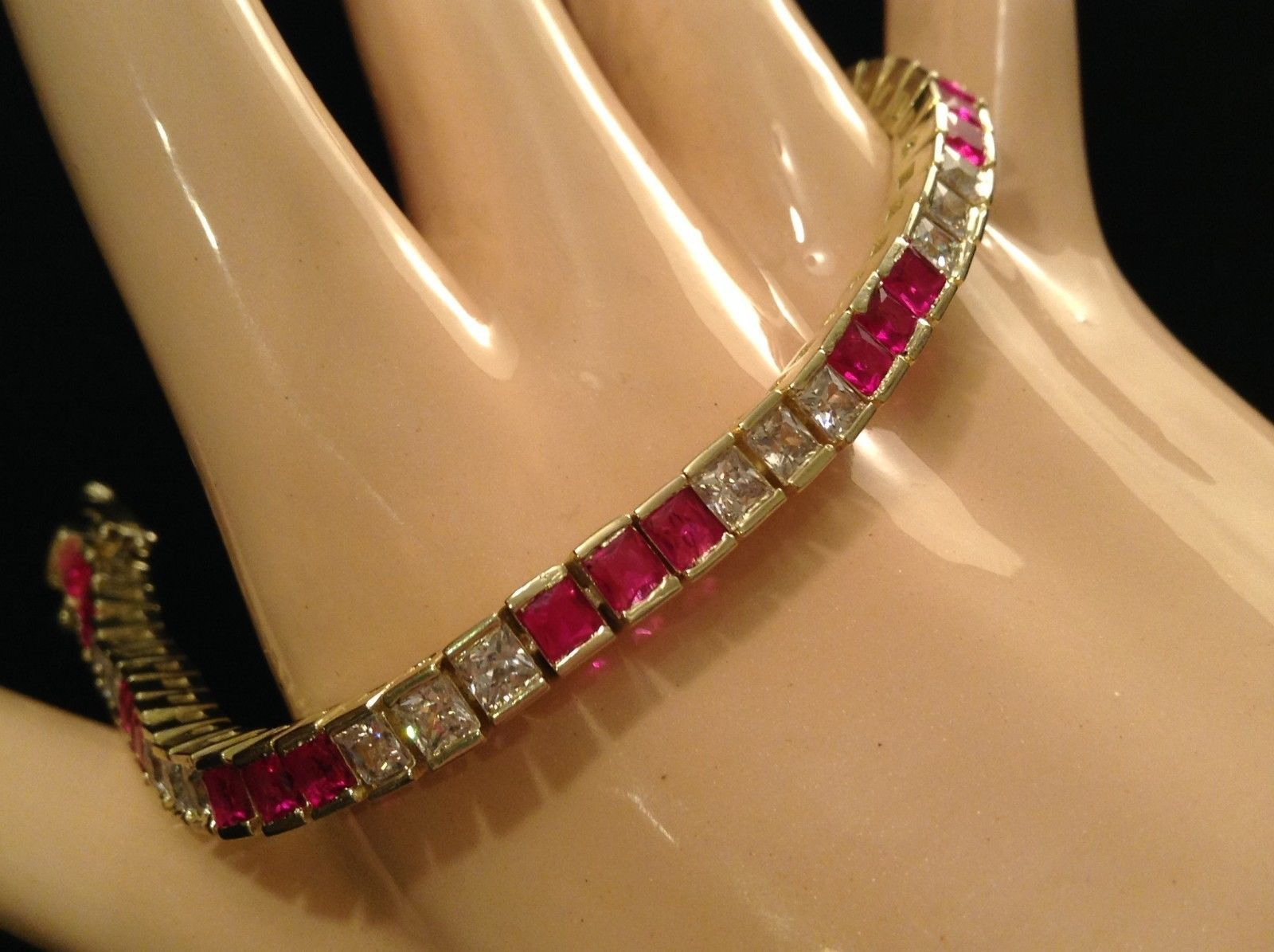 Gorgeous sparkly CZ tennis bracelet in choice silver or 14K Gold sapphire ruby