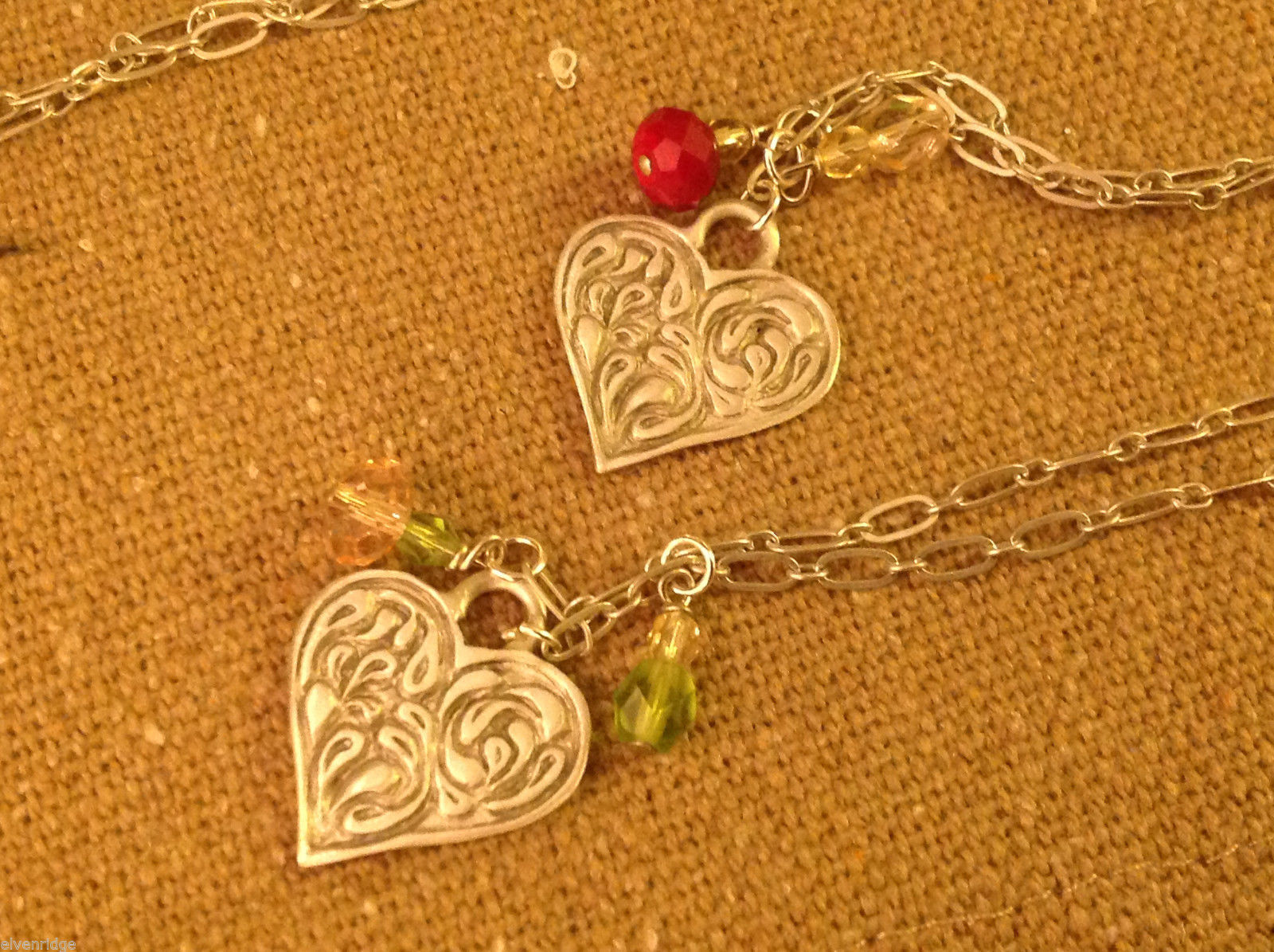 Gorgeous hand made pewter necklace USA artist heart w crystal bead charms