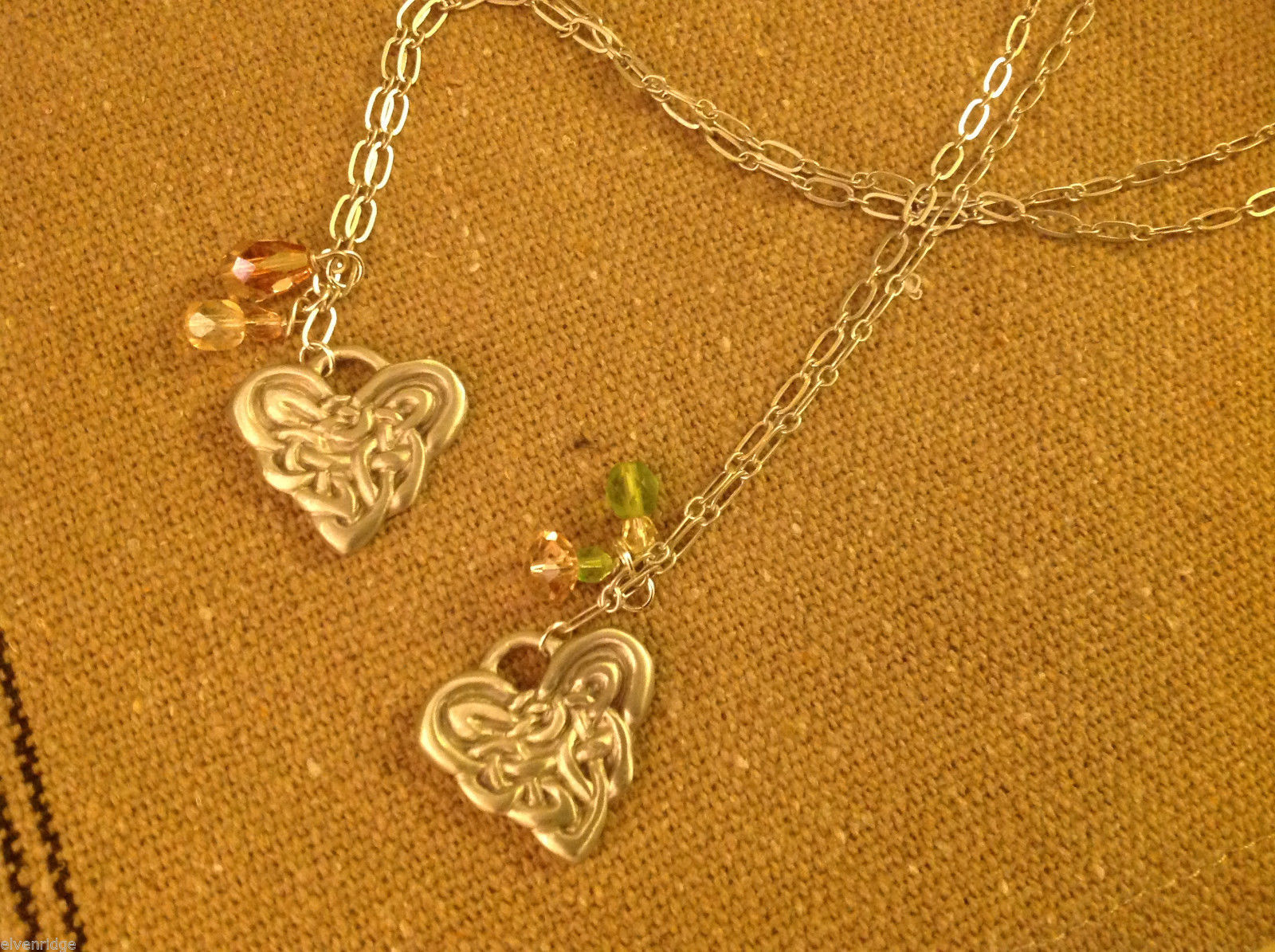 Cynthia Webb pewter necklace USA artist heart celtic design
