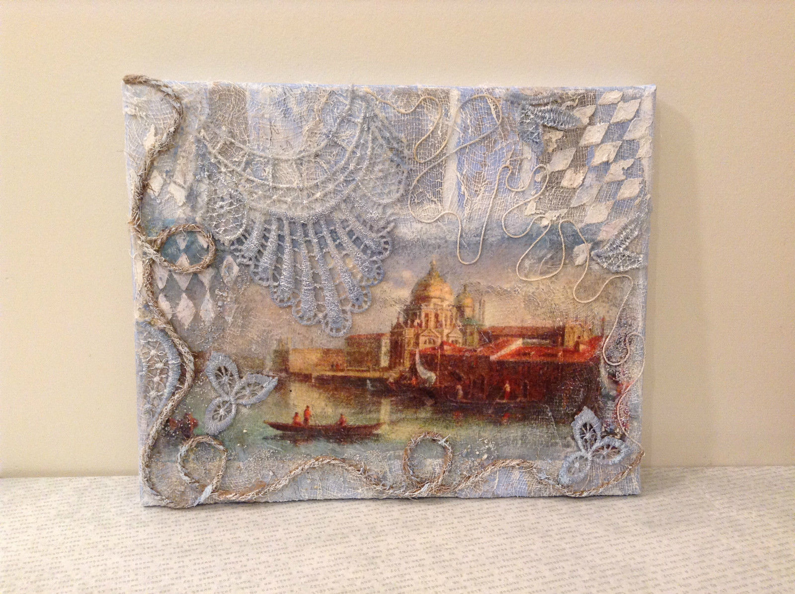 Grand Canal Venice Decorative Canvas Russian Artist Handmade  L Mironova Vintage